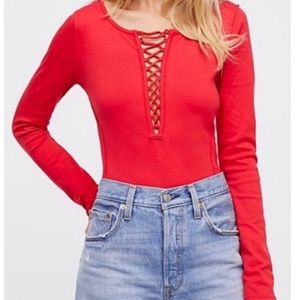 FREE PEOPLE Jacqui Lace Up Front Long Sleeve Top L